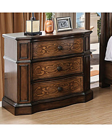 Transitional Style Wooden Night Stand, Brown