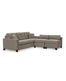 "Clarke II 93"" Fabric Estate Sofa with Two Storage Armless Chairs - Custom Colors, Created for Macy's"