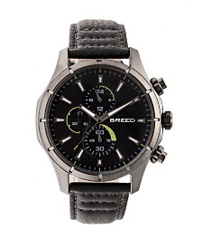 Breed Quartz Lacroix Chronograph Gunmetal And Grey Genuine Leather Watches 47mm