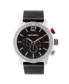 Quartz Manuel Chronograph Silver And Black Genuine Leather Watches 46mm