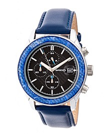 Quartz Maverick Chronograph Silver And Blue Genuine Leather Watches 43mm