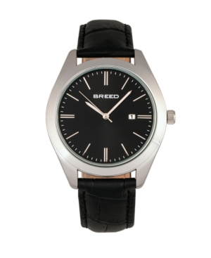 Breed Quartz Louis Silver And Black And Black Genuine Leather Watches 42mm