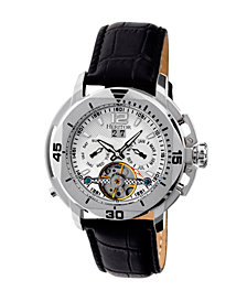 Heritor Automatic Lennon Silver Leather Watches 45mm