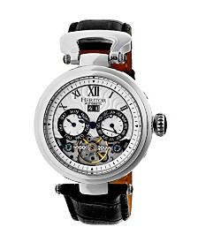 Heritor Automatic Ganzi Silver Leather Watches 44mm