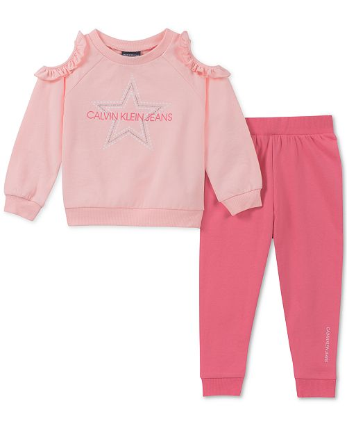 Calvin Klein Toddler Girls 2-Pc. Cold-Shoulder Top & Joggers Set
