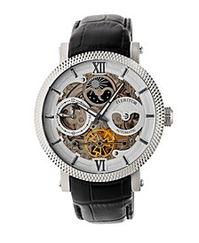 Automatic Aries Silver Leather Watches 43mm