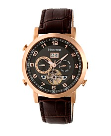 Heritor Automatic Edmond Rose Gold & Black Leather Watches 43mm