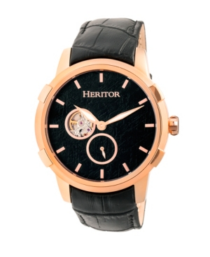 Automatic Callisto Rose Gold & Black Leather Watches 45mm