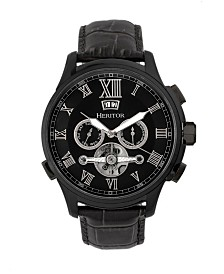 Heritor Automatic Hudson Black Leather Watches 47mm