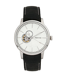 Heritor Automatic Landon Silver Leather Watches 44mm