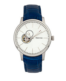 Heritor Automatic Landon Silver & Blue Leather Watches 44mm