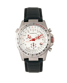 Morphic M36 Series, Silver Case White Leather Band Chronograph Watch, 44mm