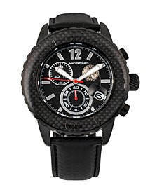 M51 Series, Black Case, Black Leather Chronograph Band Watch w/Date