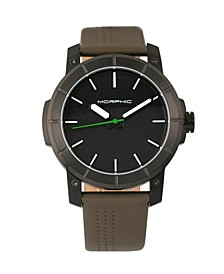 M54 Series, Black Case, Olive Leather Band Chronograph Watch, 46mm