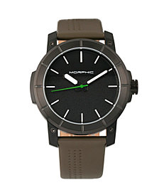 Morphic M54 Series Leather-Band Chronograph Watch - Black/Olive