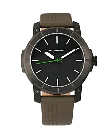 Morphic M54 Series, Black Case, Olive Leather Band Chronograph Watch, 46mm