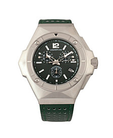 Morphic M55 Series Chronograph Leather-Band Watch w/Date - Silver/Green