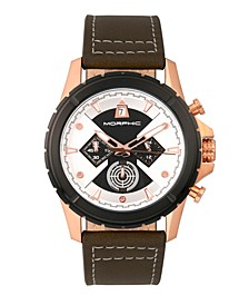 M57 Series, Rose Gold Case, Olive Chronograph Leather Band Watch, 43mm