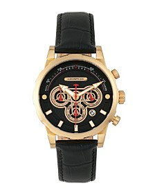 Morphic M60 Series, Gold Case, Black Leather Chronograph Band Watch w/Date, 45mm
