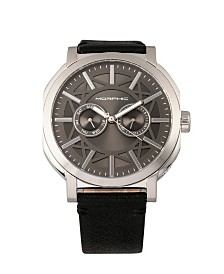 Morphic M62 Series, Silver Case, Black Leather Band Watch w/Day/Date, 44mm