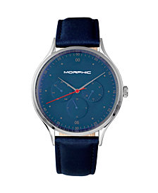 Morphic M65 Series Leather-Band Watch w/Day/Date - Blue