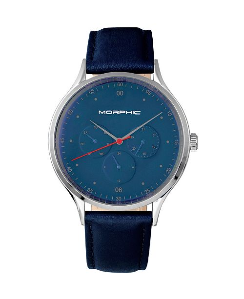 Morphic M65 Series, Blue Leather Band Watch w/Day/Date, 42mm