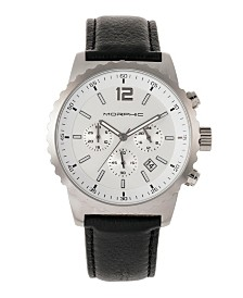 Morphic M67 Series, Silver Case, Chronograph Black Leather Band Watch w/Date, 44mm