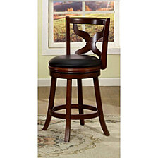 Transitional 24 Inch Swivel Bar Stool, Dark Cherry Finish