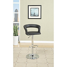 Metal Base Bar Stool with Faux Leather Seat and Gas Lift, Set of 2