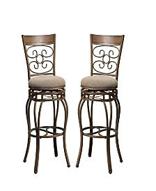 29 Inch Metal Swivel Barstool With Cushion Seat, Brown, Set Of 2