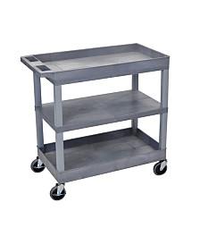 "Clickhere2shop 32"" x 18"" Two Tub/One Flat Shelves Utility Cart - Gray Shelves/Gray Legs OF-EC121-G"