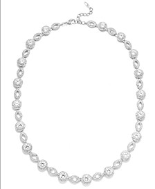Silver-Tone Crystal and Cubic Zirconia Marquise and Circle Framed Link Necklace (19 ct. t.w.), Created for Macy's