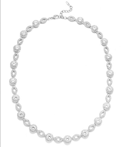 Danori Necklace, Silver-Tone Crystal and Cubic Zirconia Marquise and Circle Framed Link Necklace (19 ct. t.w.)