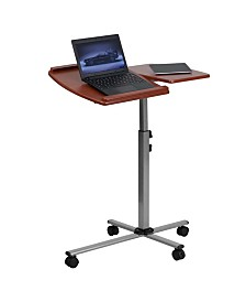 Offex Angle and Height Adjustable Mobile Laptop Computer Table with Cherry Top