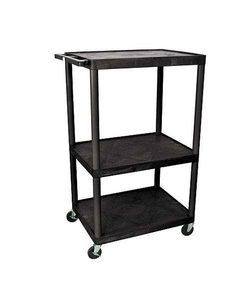 "Clickhere2shop 54""H Tuffy AV Cart with Three Large Shelves - Black"