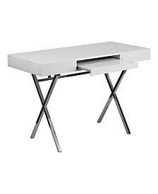 Offex 45.25''W x 21.75''D White Computer Desk with Keyboard Tray and Drawers