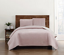 Truly Soft Everyday Velvet Pick Stitch King Quilt Set
