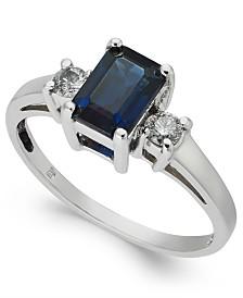 Sapphire (1-1/6 ct. t.w.) & Diamond (1/6 ct. t.w.) Ring in 14k White Gold