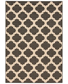"CLOSEOUT! Surya  Alfresco ALF-9584 Black 5'3"" x 7'6"" Area Rug, Indoor/Outdoor"