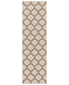 """Alfresco ALF-9586 Cream 2'3"""" x 11'9"""" Runner Area Rug, Indoor/Outdoor"""