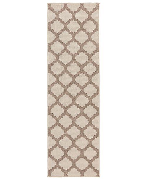 """Surya Alfresco ALF-9586 Cream 2'3"""" x 11'9"""" Runner Area Rug, Indoor/Outdoor"""