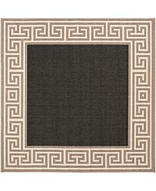 "Alfresco ALF-9626 Black 8'9"" Square Area Rug, Indoor/Outdoor"