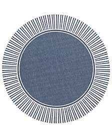 "Alfresco ALF-9682 Charcoal 5'3"" Round Area Rug, Indoor/Outdoor"