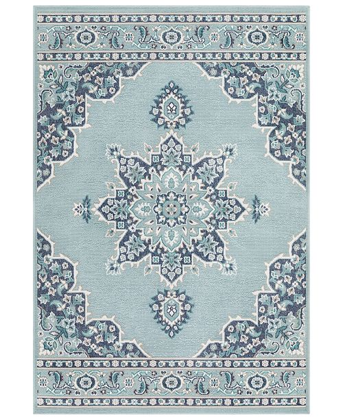 "Surya Alfresco ALF-9687 Aqua  8'9"" x 12'9"" Area Rug, Indoor/Outdoor"