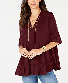 MICHAEL Michael Kors Chain Lace-Up Top