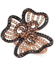 Le Vian® Nude™, Blackberry™ & Chocolate™ Diamond Flower Ring (1-1/2 ct. t.w.) in 14k Rose Gold