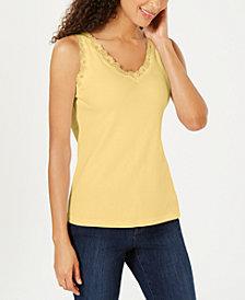 Karen Scott Cotton Lace-Trim Tank Top, Created for Macy's