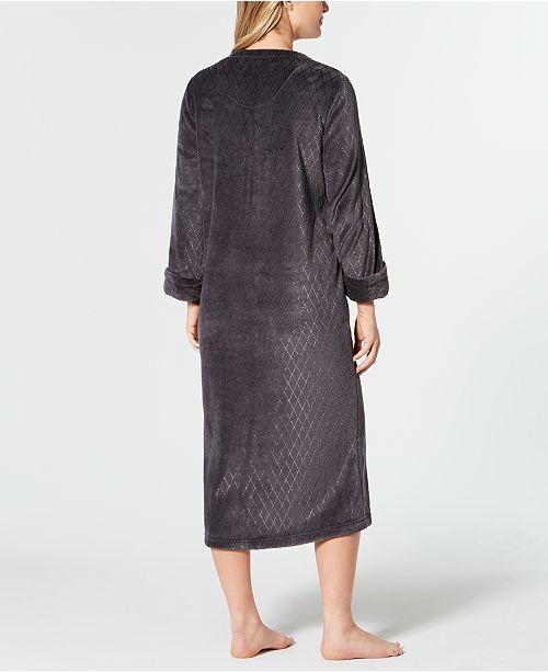 1c76a2789a Miss Elaine Fleece Long Zip Robe - Bras