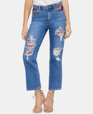 Tapestry Patchwork Crop Straight Leg Jeans in Indigo River