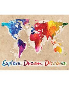 "Explore Dream Discover The World Rainbow 20"" X 24"" Canvas Wall Art Print"